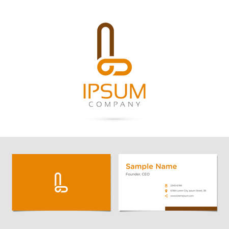 Vector graphic elegant impossible alphabet symbol  identity  business card in two colors  Letter L Ilustracja