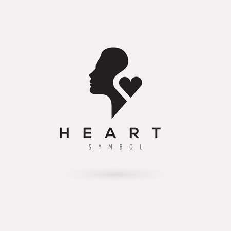 woman vector: Vector graphic illustration of a woman silhouette with a heart and sample text Illustration