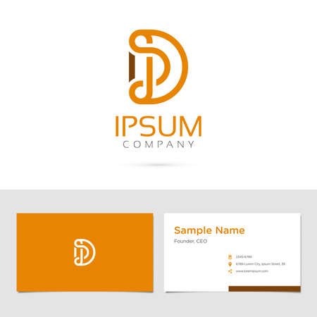 Vector graphic elegant impossible alphabet symbol  identity  business card in two colors  Letter D