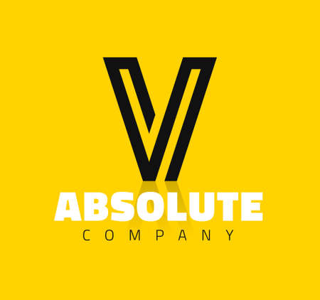 letras negras: Símbolo gráfico vectorial línea creativa alfabeto  Letra V