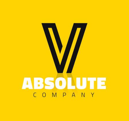 Vector graphic creative line alphabet symbol / Letter V Illustration