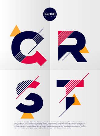 electricidad: Alfabeto tipográfico en un conjunto. Contiene colores vibrantes y diseño minimalista sobre un fondo abstracto mínima