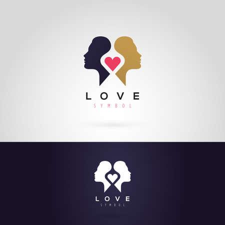 perfil de mujer rostro: Gráfico de vector ilustración de una silueta de la mujer con un corazón, en dos colores Vectores