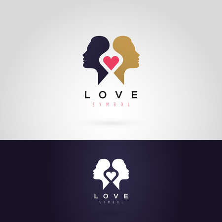face silhouette: Vector graphic illustration of a woman silhouette with a heart, in two colors Illustration