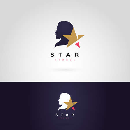 glamour model: Vector graphic illustration of a woman silhouette with a star, in two colors Illustration