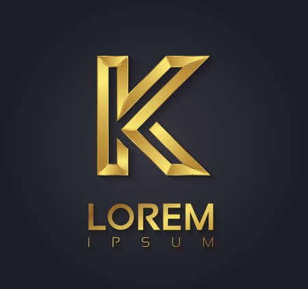 Vector graphic elegant golden font with sample text / symbol / alphabet / Letter K Иллюстрация