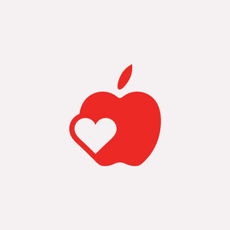 negative graphic: Vector graphic illustration of an apple symbol with a heart inside in negative space