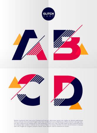 Alfabeto tipográfico en un conjunto. Contiene colores vibrantes y diseño minimalista sobre un fondo abstracto mínima