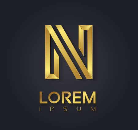 Vector graphic elegant golden font with sample text / symbol / alphabet / Letter N