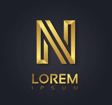 Vector grafische elegante gouden doopvont met voorbeeld tekst  symbool  letter  Brief N Stock Illustratie