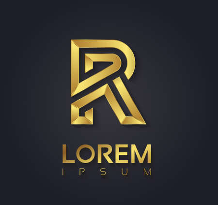 Vector graphic elegant golden font with sample text  symbol  alphabet  Letter R