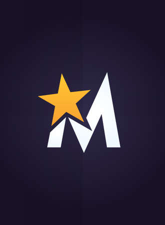 letter m: Vector graphic symbol with stylized star with letter M