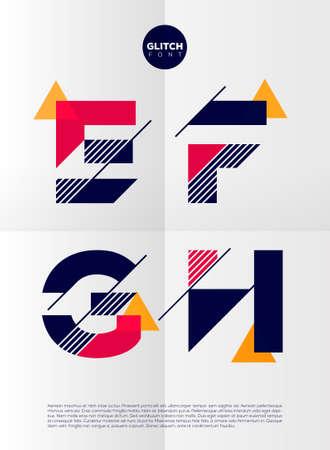forme: Alphabet typographique dans un ensemble. Contient des couleurs vives et design minimaliste sur un fond abstrait et minimal