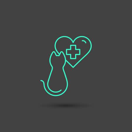 Vector graphic cat icon in minimal style, line symbols in negative color Illustration