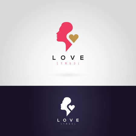 woman face: Vector graphic illustration of a woman silhouette with a heart, in two colors Illustration