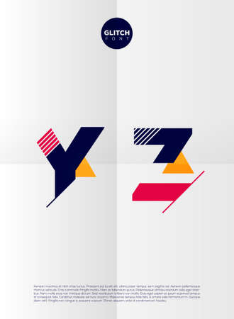 Typografisch alfabet in een set. Bevat levendige kleuren en minimalistisch design op een minimale achtergrond Stock Illustratie