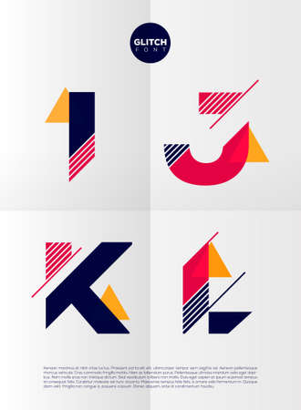 high tech: Typographic alphabet in a set. Contains vibrant colors and minimal design on a minimal abstract background