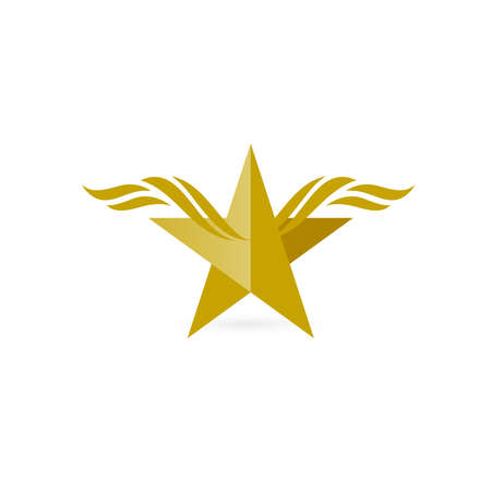 wings: Vector graphic symbol with stylized star with wings Illustration