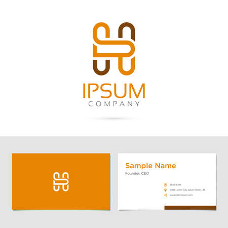 Vector graphic elegant impossible alphabet symbol  identity  business card in two colors  Letter H