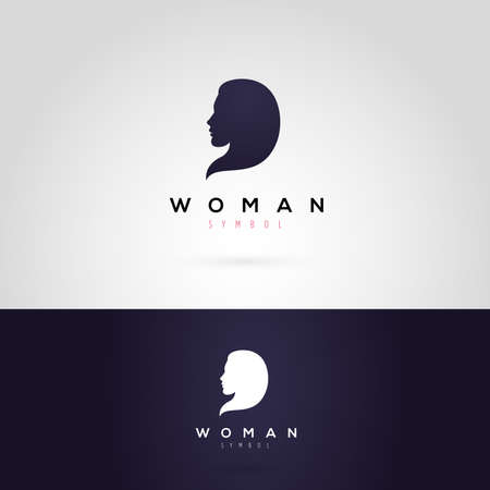 Vector graphic illustration of a woman silhouette, in two colors