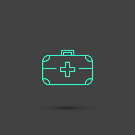 ems: Vector graphic icon of a doctors bag in minimal style, line symbols in negative color