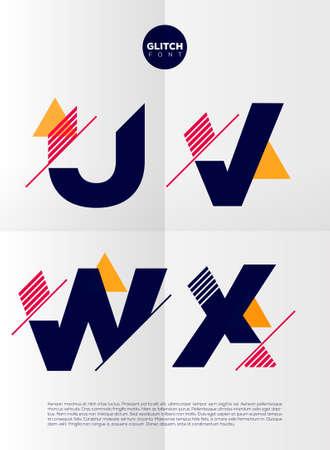 font: Alfabeto tipográfico en un conjunto. Contiene colores vibrantes y diseño minimalista sobre un fondo abstracto mínima