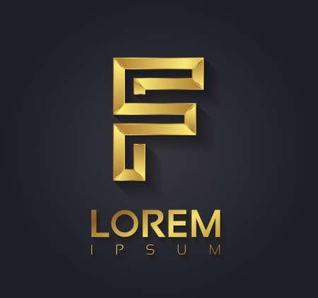 tipos de letras: Gráfico de vector elegante fuente de oro con texto de ejemplo  símbolo  alfabeto  Letra F