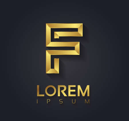 Vector graphic elegant golden font with sample text  symbol  alphabet  Letter F