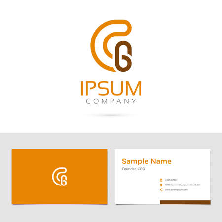 Vector graphic elegant impossible alphabet symbol / identity / business card in two colors / Letter G 向量圖像