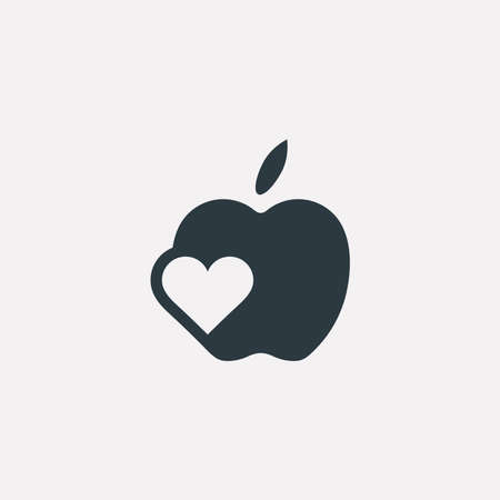 Vector graphic illustration of an apple symbol with a heart inside in negative space