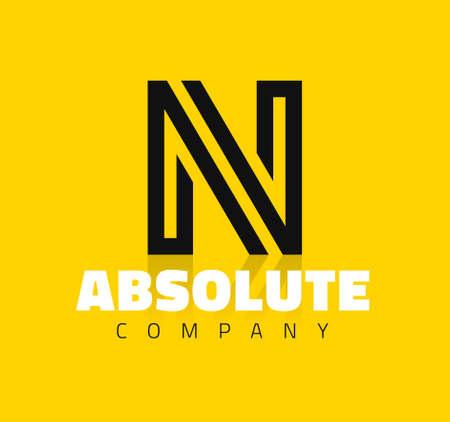 N: Vector graphic creative line alphabet symbol  Letter N