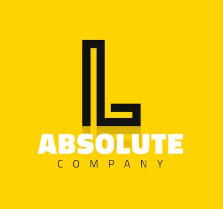 lettres alphabet: Symbole graphique de vecteur de l'alphabet de la ligne créative  Lettre L