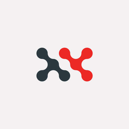 atom: Vector graphic geometric illustration of an abstract minimal wavy symbol