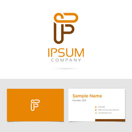 Vector graphic elegant impossible alphabet symbol  identity  business card in two colors  Letter F Ilustrace
