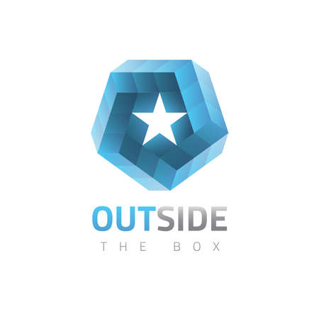 orthogonal: Vector graphic abstract symbol, impossible object with 3d effect Illustration