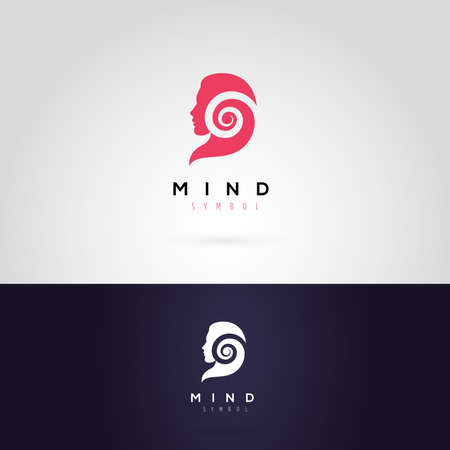 Vector graphic illustration of a woman silhouette with a spiral, in two colors