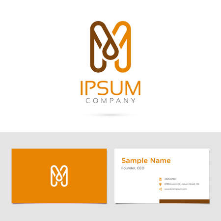 Vector graphic elegant impossible alphabet symbol / identity / business card in two colors / Letter M 向量圖像