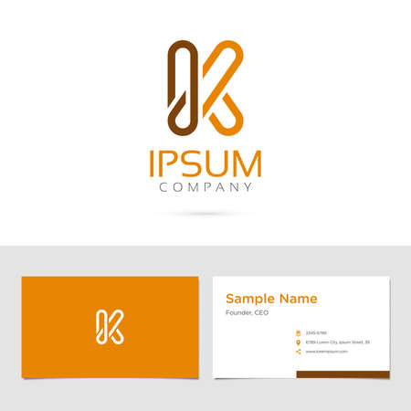Vector graphic elegant impossible alphabet symbol / identity / business card in two colors / Letter K 向量圖像