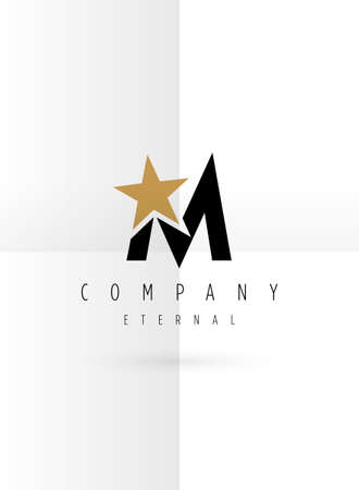 Vector graphic symbol with stylized star with letter M