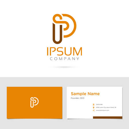 Vector graphic elegant impossible alphabet symbol / identity / business card in two colors / Letter P 向量圖像