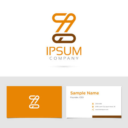 Vector graphic elegant impossible alphabet symbol / identity / business card in two colors / Letter Z