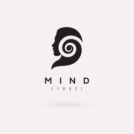 Vector graphic illustration of a woman silhouette with a spiral, with sample text