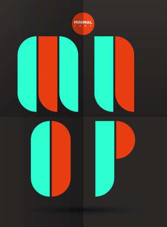 Vector graphic decorative design letters in a set in negative color
