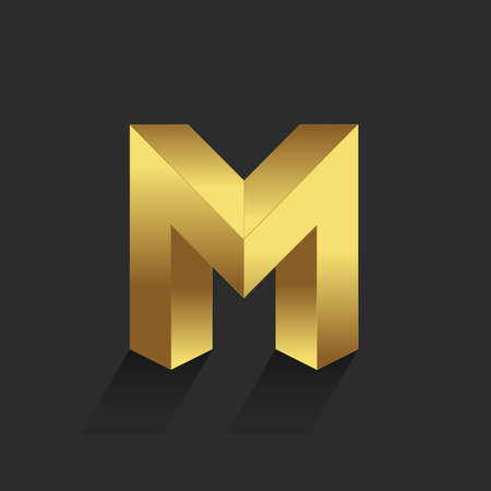 gold alphabet: Beautiful vector graphic gold alphabet  letter M  symbol Illustration