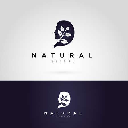 schönheit: Vektor-Grafik-Darstellung eines Frauenschattenbild mit Blättern, in zwei Farben
