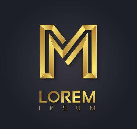 letras de oro: Gráfico de vector elegante fuente de oro con texto de ejemplo  símbolo  alfabeto  Letra M