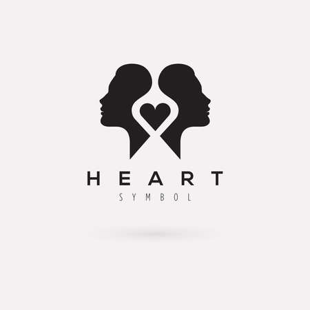 Vector graphic illustration of a woman silhouette with a heart and sample text 向量圖像