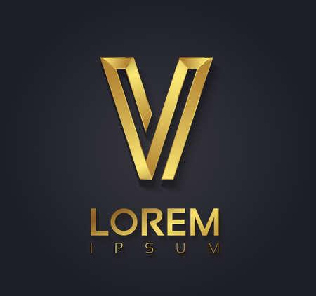 tipos de letras: Gráfico de vector elegante fuente de oro con texto de ejemplo  símbolo  alfabeto  Letra V