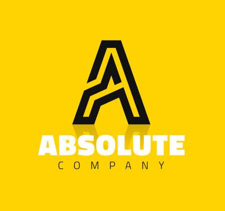 letras negras: Símbolo gráfico vectorial línea creativa alfabeto  Letra A