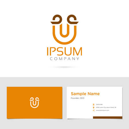 Vector graphic elegant impossible alphabet symbol / identity / business card in two colors / Letter U
